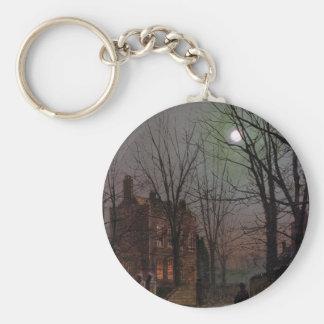 Moonlight by John Atkinson Grimshaw Basic Round Button Keychain