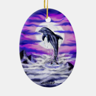 Moonlight Dolphin Ceramic Ornament