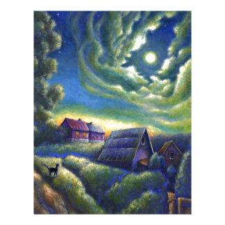 Moonlight Dreams Cat Sunset Moon Stars Landscape Letterhead