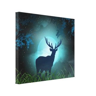 Moonlight Elk Canvas Print