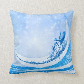 MOONLIGHT FAIRY, Blue Bokeh Collage Throw Pillow