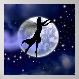 Moonlight Fairy Silhouette Print