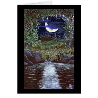 Moonlight Falls Acrylic Color Painting Art Greeting Cards