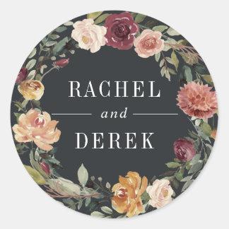 Moonlight Garden | Floral Wreath Wedding Classic Round Sticker
