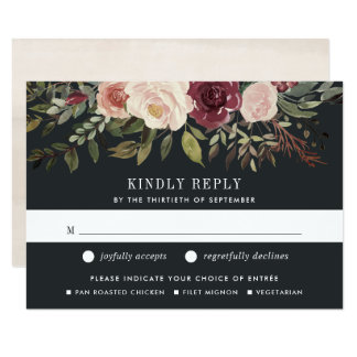 Moonlight Garden RSVP Card with Meal Choice