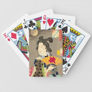 Moonlight Geisha Japanese Woodblock Ukiyo-e Bicycle Playing Cards