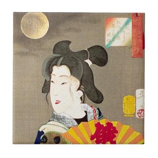Moonlight Geisha Japanese Woodblock Ukiyo-e Ceramic Tile