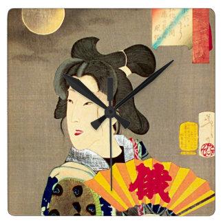 Moonlight Geisha Japanese Woodblock Ukiyo-e Wall Clocks