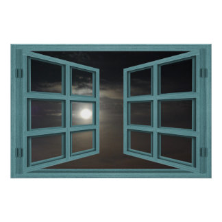 Moonlight Green Wood 6 Pane Open Window Poster