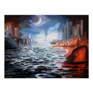 Moonlight Harbor Print