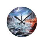 Moonlight Harbor Round Wall Clocks