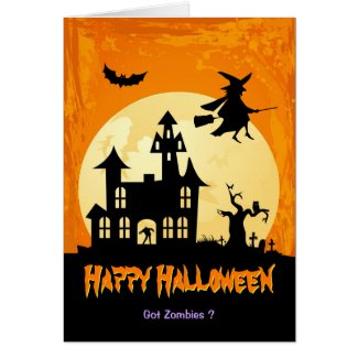 Moonlight Haunted House in Graveyard - Halloween Card