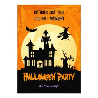 Moonlight Haunted House in Graveyard - Halloween Invitations