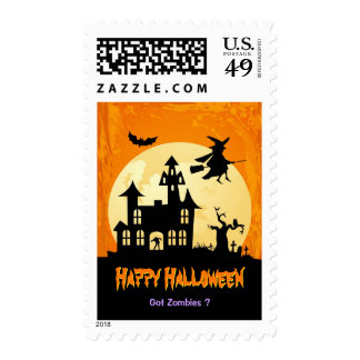 Moonlight Haunted House in Graveyard - Halloween Postage Stamps