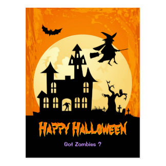 Moonlight Haunted House in Graveyard - Halloween Postcard