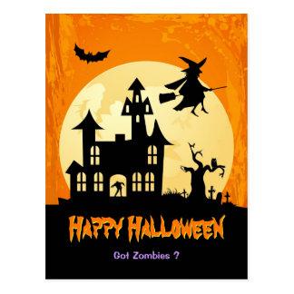Moonlight Haunted House in Graveyard - Halloween Postcards