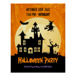 Moonlight Haunted House in Graveyard - Halloween Poster