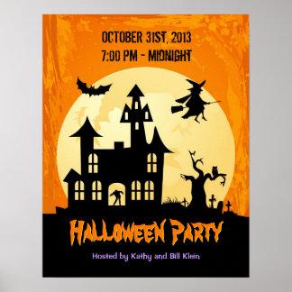 Moonlight Haunted House in Graveyard - Halloween Poster