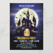 Moonlight Haunted House Spooky Halloween Party Invitation