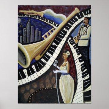 McTiffany Tiffany Aqua Moonlight Jazz Poster