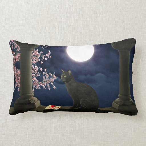 Moonlight Kitty Throw Pillow