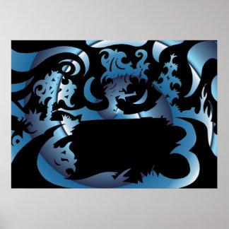 Moonlight Lake Drawing Poster