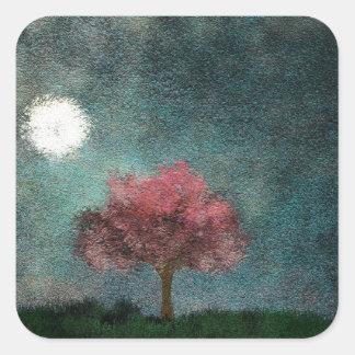 moonlight landscape square sticker