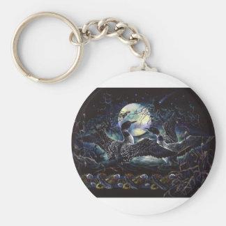 Moonlight Loon Dance Basic Round Button Keychain