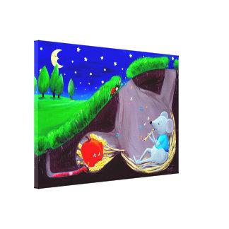 Moonlight Melody   Cute Field Mouse Nursery Canvas Print