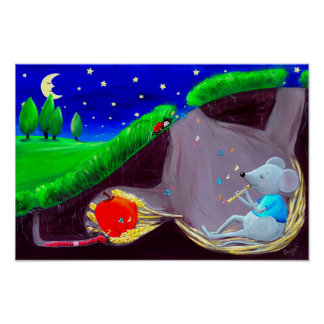 Moonlight Melody   Cute Field Mouse Nursery Poster