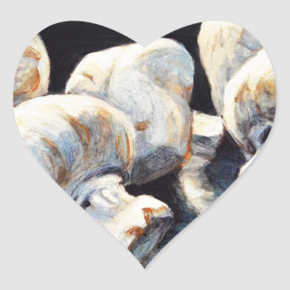 Moonlight Mushrooms Heart Sticker