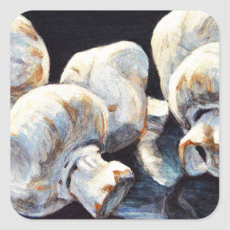 Moonlight Mushrooms Square Sticker