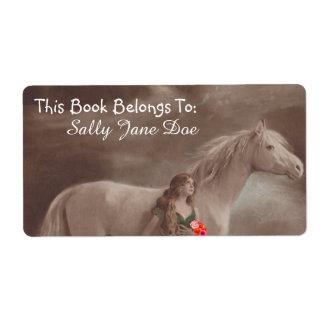Moonlight Night Dream Horse Lady Bookplates Labels