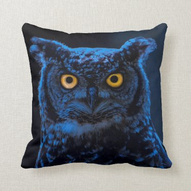 Moonlight Night Gothic Owl Pillow