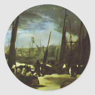 Moonlight on Boulogne Harbour by Edouard Manet Classic Round Sticker
