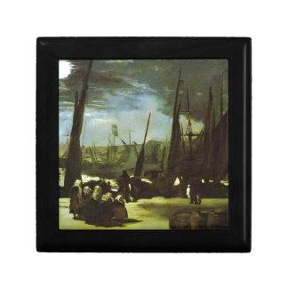 Moonlight on Boulogne Harbour by Edouard Manet Keepsake Box