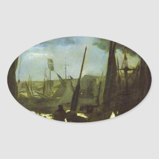 Moonlight on Boulogne Harbour by Edouard Manet Oval Sticker