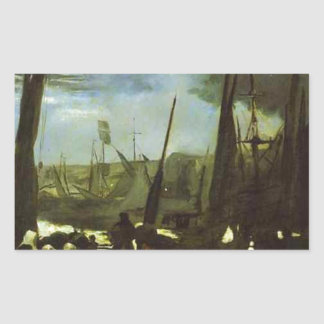 Moonlight on Boulogne Harbour by Edouard Manet Rectangular Sticker