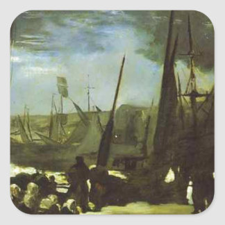 Moonlight on Boulogne Harbour by Edouard Manet Square Sticker