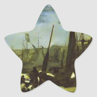 Moonlight on Boulogne Harbour by Edouard Manet Star Sticker