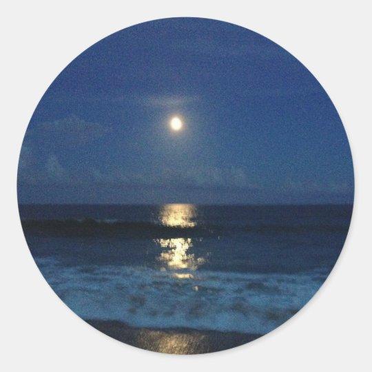 MOONLIGHT on the BEACH Classic Round Sticker