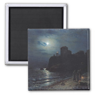 Moonlight on the Edge of a Lake, 1870 2 Inch Square Magnet