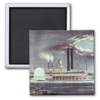 Moonlight on the Mississippi 2 Inch Square Magnet