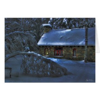 Moonlight on the Stone House Greeting Card