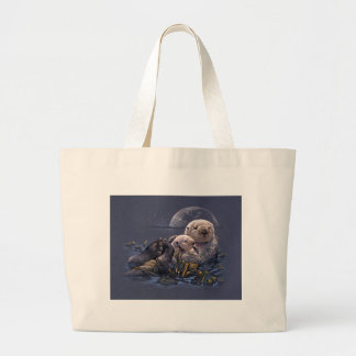 Moonlight Otters Tote Bag