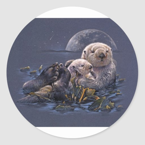 Moonlight Otters Classic Round Sticker