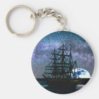 Moonlight Over the Cape Fear Keychain