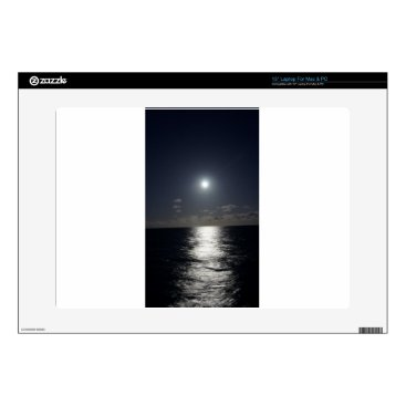 "Beach Themed Moonlight over the Ocean 15"" Laptop Skin"