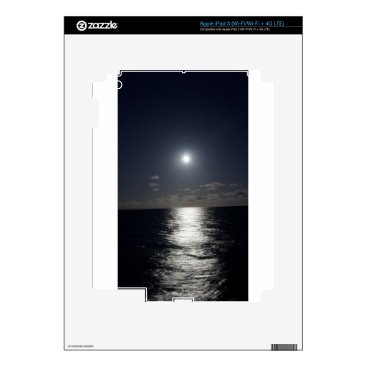 Beach Themed Moonlight over the Ocean Decals For iPad 3