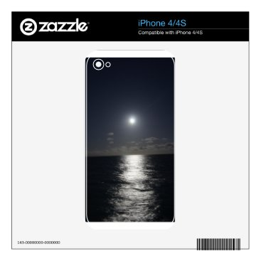 Beach Themed Moonlight over the Ocean iPhone 4 Decal
